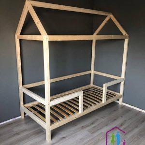 Bedhuisje Balken | Boomhut bed | Steigerhout | Speelgoedlade | Blank