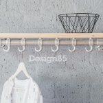 Design85 – Kapstok Basic 70 cm – Steigerbuis – Steigerhouten legplak – 6 haken