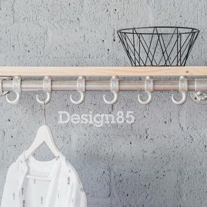Design85 - Kapstok Basic 70 cm - Steigerbuis - Steigerhouten legplak - 6 haken