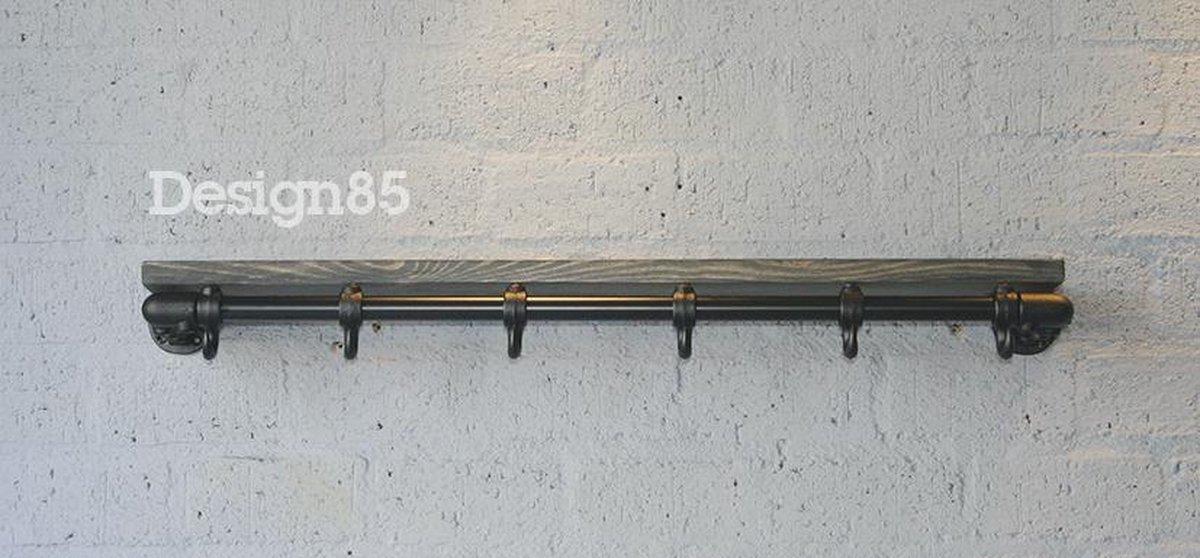 Design85 - Kapstok Basic 70 cm - Steigerbuis Zwart - Steigerhouten legplank zwarte wax - 4 haken