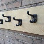 Kapstok Steigerhout – 5 Metalen Haken – Bruin-Zwart – 75 cm