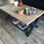 M2-meubels Salontafel – 90 x 60 x 40 cm – Industriële Steigerhouten Tafel – X-onderstel