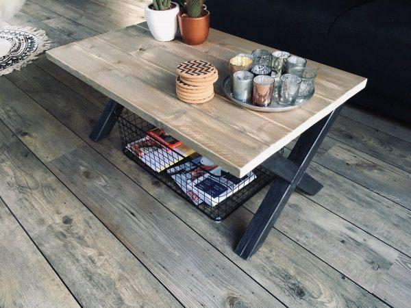 M2-meubels Salontafel - 90 x 60 x 40 cm - Industriële Steigerhouten Tafel - X-onderstel
