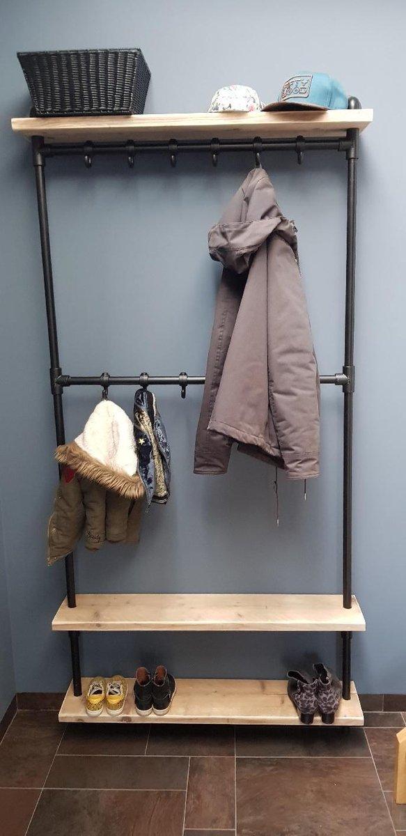 Steigerbuis kapstok | 100cm | 12 haken | wandkapstok | gebruikt steigerhout | industrieel | vintage | robuust | loft