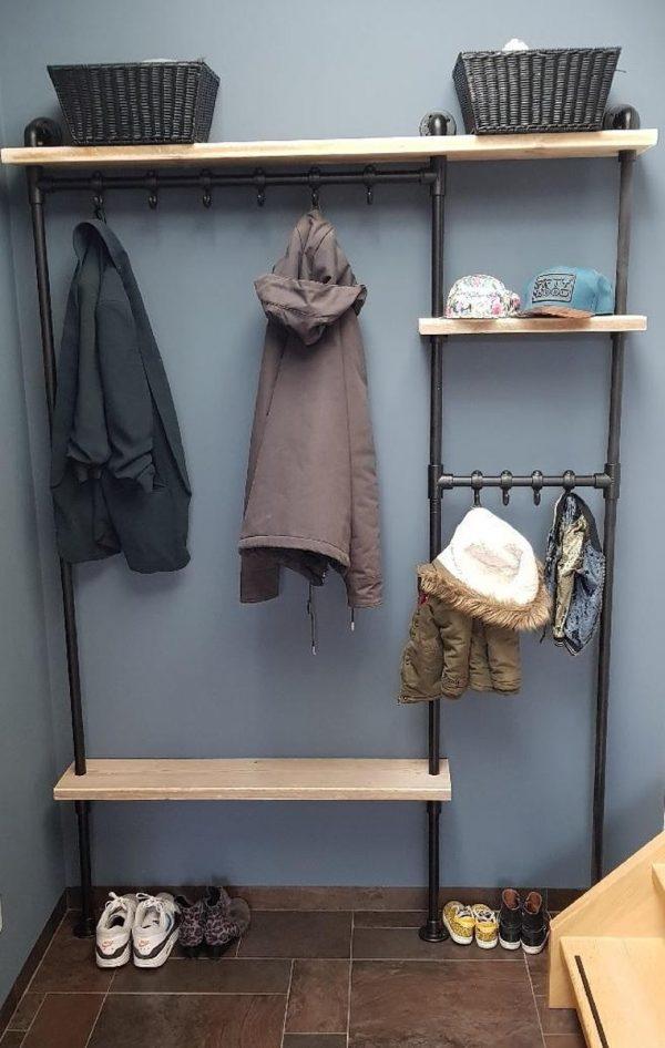 Steigerbuis kapstok | 142cm | 10 haken | wandkapstok | gebruikt steigerhout | industrieel | vintage | robuust | Steigerhouten | Steigerplank | loft
