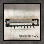 Steigerbuis kapstok Black Metal Oud steigerhout 80cm zwart