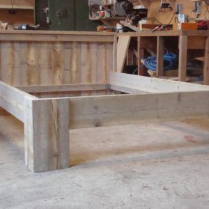 Steigerhout bed blokpoot-180x200
