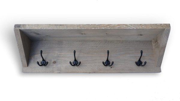 Steigerhouten kapstok 'Oslo' 80cm met 4 Triple haken