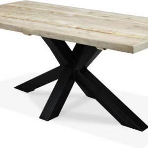 Steigerhouten tafel - 5 dik - 200x100 - metalen Matrix onderstel zwart