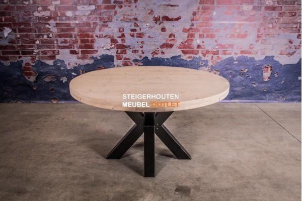 Steigerhouten tafel rond industrieel