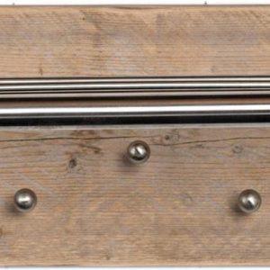 Wimpy Designs | Kapstok in steigerhout met 7 knoppen en RVS hoedenrek