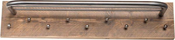 Wimpy Designs | Kapstok in steigerhout met 9 knoppen en RVS hoedenrek