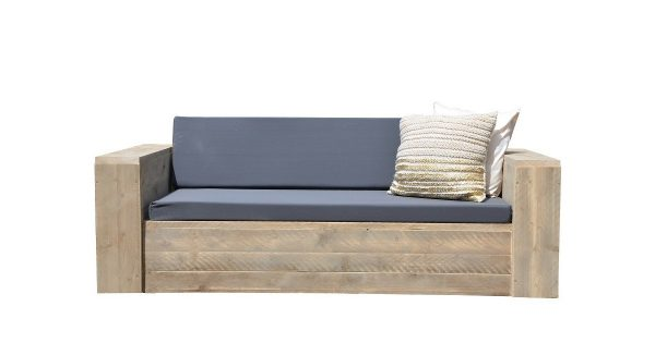 "Wood4you - Loungebank steigerhout ""Washington 230cm met kussens''"