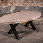steigerhouten tafel ovaal met stalen poot 160 x 120