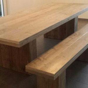 tafel kolompoot steigerhout met bijpassend bankje