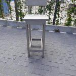 2 x barkruk Back van Grey Wash steigerhout, voor bij een bar tafel / sta tafel