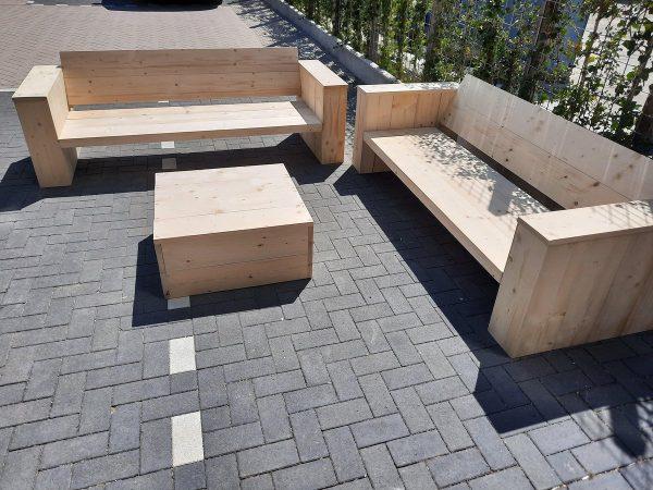 """3 delige Loungeset """"Garden Big"""" Nieuw steigerhout inclusief tafel 6 persoons"""