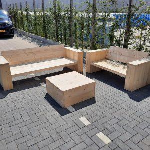 """3 delige Loungeset """"Garden Middel"""" van Nieuw steigerhout inclusief tafel 5 persoons"""