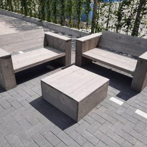 """3 delige Loungeset """"Garden Small"""" van Grey Wash steigerhout inclusief tafel 4 persoons"""