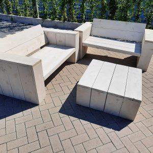 "3 delige Loungeset ""Garden Small"" van White Wash steigerhout inclusief tafel 4 persoons"