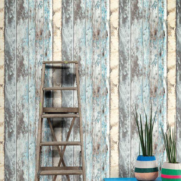 DUTCH WALLCOVERINGS Behang steigerhout blauw PE10012