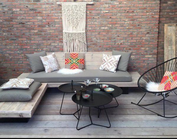 Easy Loungebank - Steigerhout- Metaal - Industrieel design