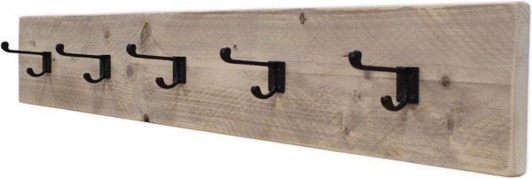 Kapstok - Type School - Steigerhout - Wandbevestiging - Blinde bevestiging - Incl. Handleiding - (L)120 x (H)19 x (D)13,5cm