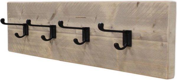 Kapstok - Type School - Steigerhout - Wandbevestiging - Blinde bevestiging - Incl. Handleiding - (L)80 x (H)19 x (D)13,5cm