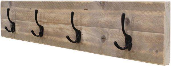 Kapstok - Type Thuis - Steigerhout - Wandbevestiging - Blinde bevestiging - Incl. Handleiding - (L)100 x (H)19 x (D)6,5cm