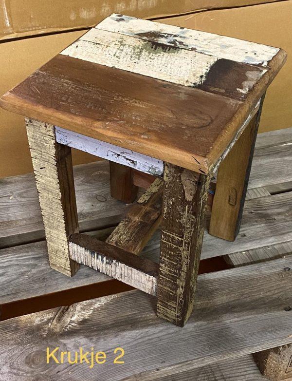Krukje bijzet tafeltje Scrapie gerecycled sloophout scrapwood design stijl 35 cm hoog
