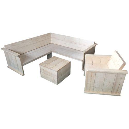Steigerhout bouwpakket hoekbank, hocker en loungestoel