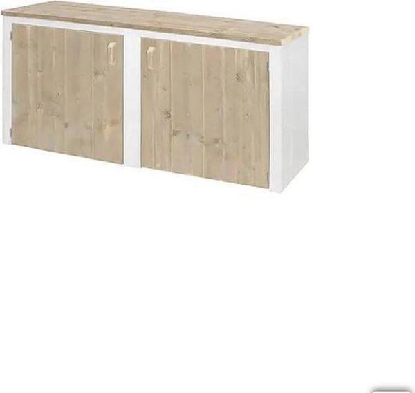 Steigerhout dressoir - met witte omlijsting - 140x50x80h