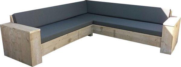 Steigerhout - lounge hoekbank 250x250 - oud steigerhout - zitdiepte 60 cm - geen bouwpakket
