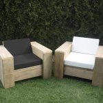 Steigerhout tuinset Block – 60×60 hocker – 2 loungestoelen – oud steigerhout