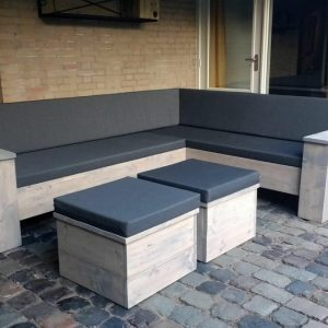 Steigerhouten Hoekbank - Loungeset - Doe het zelf - Bouwpakket hoekbank - Buitenwerks 220x220cm