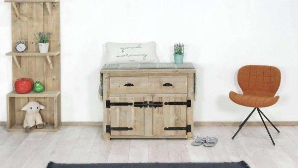 Steigerhouten dressoir Arthur 3 - steigerhout - 140x60x90h