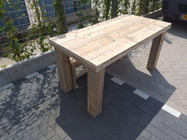 """Tafel """"Blokpoot"""" van Gebruikt steigerhout 76x180cm"""