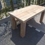 """Tafel """"Blokpoot"""" van Gebruikt steigerhout 76x250cm 8 tot 10 persoons tafel"""