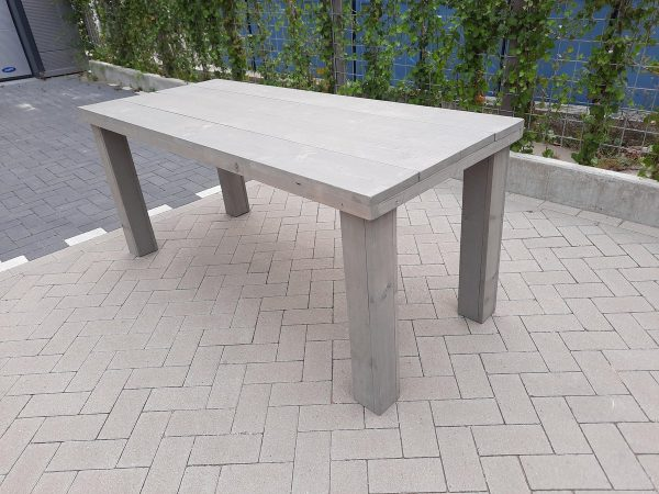 "Tafel ""Blokpoot"" van Grey Wash steigerhout 76x210cm 6 tot 8 persoons tafel"