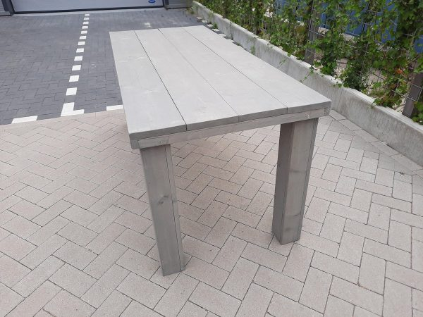 "Tafel ""Blokpoot"" van Grey Wash steigerhout 96x140cm 4 persoons tafel"