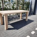 """Tafel """"Blokpoot"""" van Nieuw steigerhout 76x210cm 6 tot 8 persoons tafel"""