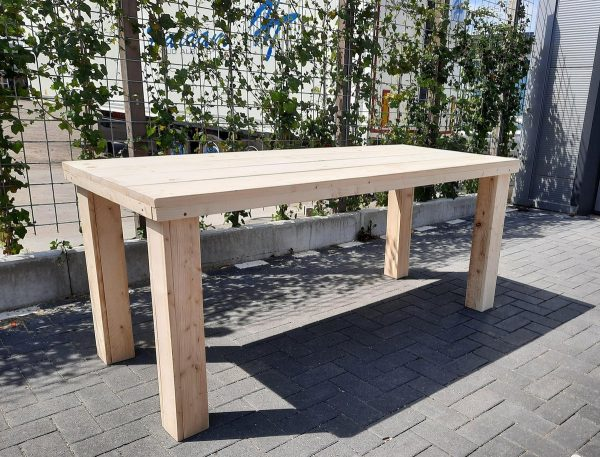 """Tafel """"Blokpoot"""" van Nieuw steigerhout 76x250cm 8 tot 10 persoons tafel"""