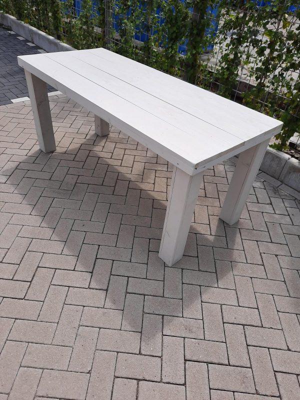 """Tafel """"Blokpoot"""" van White Wash steigerhout 76x140cm 4 persoons tafel"""