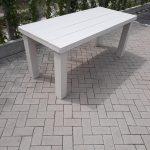 """Tafel """"Blokpoot"""" van White Wash steigerhout 76x250cm 8 tot 10 persoons tafel"""