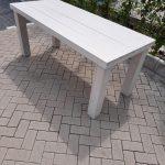 """Tafel """"Blokpoot"""" van White Wash steigerhout 96x140cm 4 persoons tafel"""