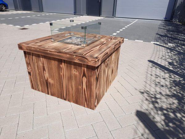 Vuurtafel Block Orange BurnD Terrasverwarmer 80x80x50cm van Douglas hout