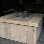 Vuurtafel Block Terrasverwarmer 100x100x50cm van Gebruikt steigerhout