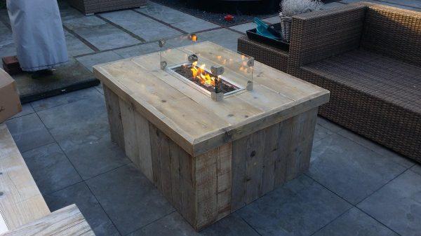 Vuurtafel Block Terrasverwarmer 80x100x50cm van Gebruikt steigerhout