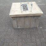 Vuurtafel Block Terrasverwarmer 80x80x50cm van Gebruikt steigerhout
