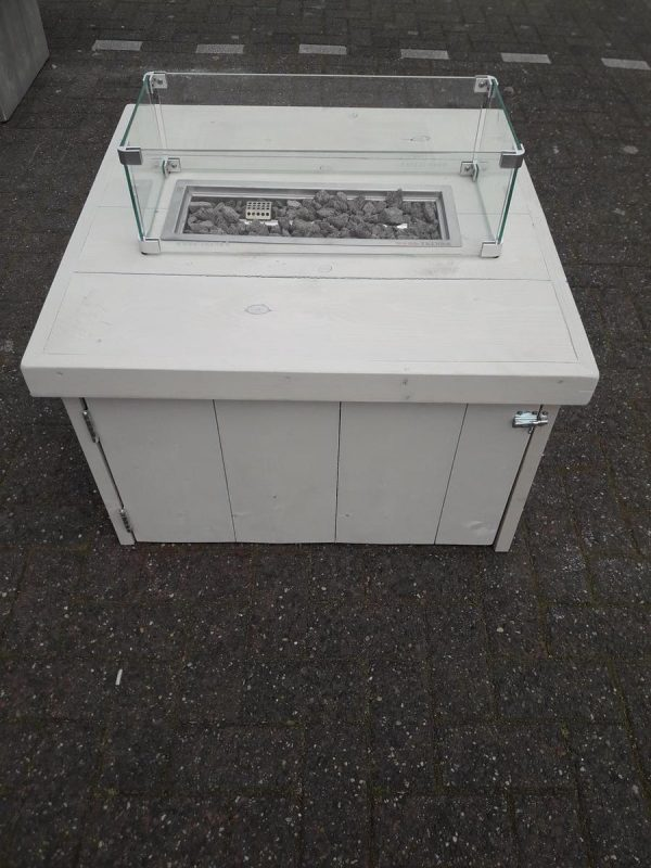 Vuurtafel Block Terrasverwarmer 80x80x50cm van White Wash steigerhout